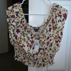 American Eagle off the shoulder floral top
